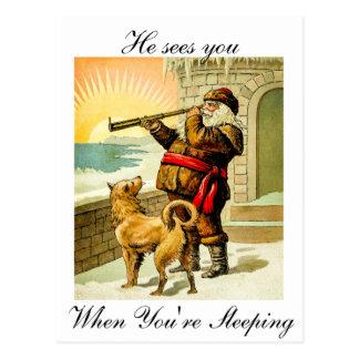 Postal Él le ve cuando usted es vintage Santa el dormir