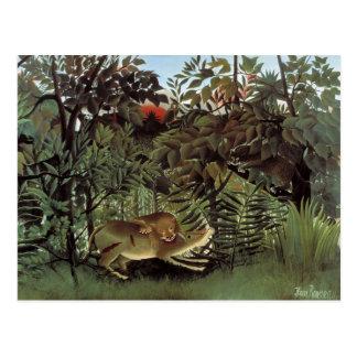 Postal El león hambriento - Henri Rousseau