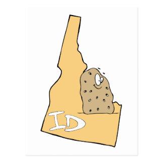 Postal El mapa de la identificación de Idaho y la patata