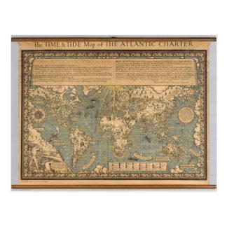 """Postal El mapa del """"tiempo y de la marea"""" de la carta"""