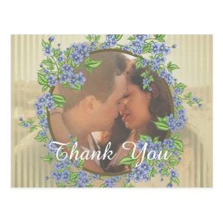 Postal El marco de la flor de la foto del boda le