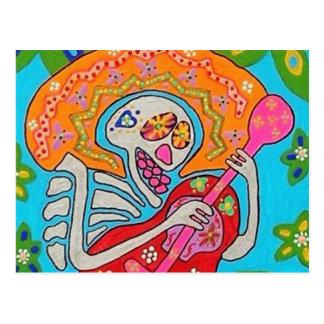 Postal El Mariachi Serenade - el día del esqueleto muerto