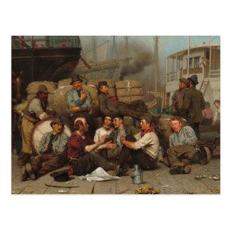 Postal El mediodía de los obreros portuarios