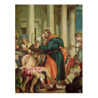 Postal El milagro de St. Barnabas, c.1566