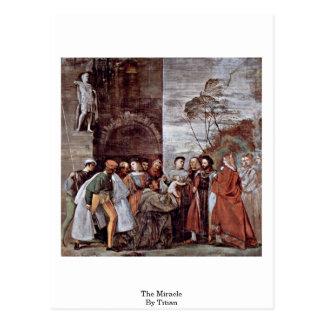 Postal El milagro por Titian