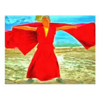 Postal El monje estupendo del ajuste en rojo