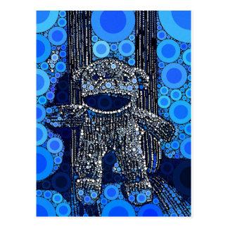 Postal El mono azul enrrollado del calcetín circunda arte