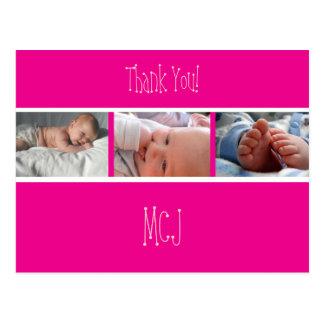 Postal El monograma del bebé agradece le/las fotos