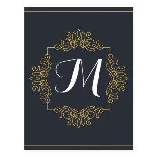 Postal El monograma elegante el | del azul y del oro