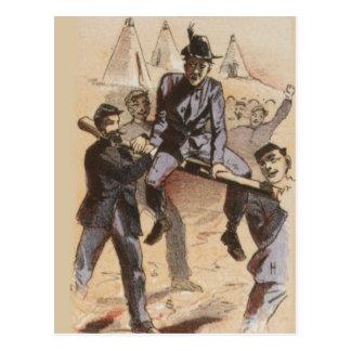 Postal El montar en la vida de la guerra civil del carril
