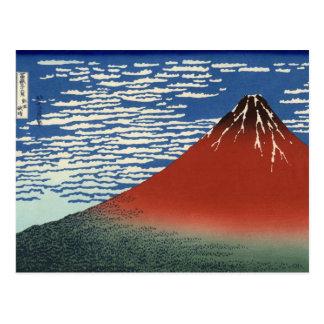 Postal El monte Fuji rojo