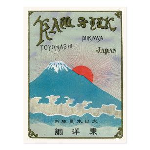 Postal El monte Fuji y etiqueta de seda japonesa del