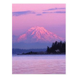 Postal El Monte Rainier en la puesta del sol, estado de