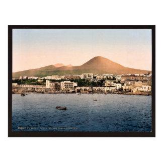 Postal El monte Vesubio, con Torre de Creco, Nápoles,