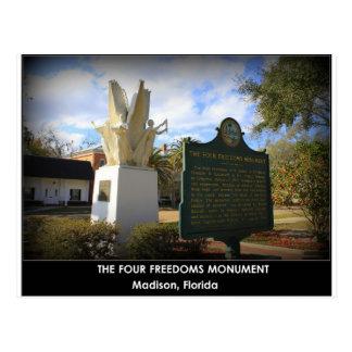 POSTAL EL MONUMENTO DE CUATRO LIBERTADES - MADISON, FL