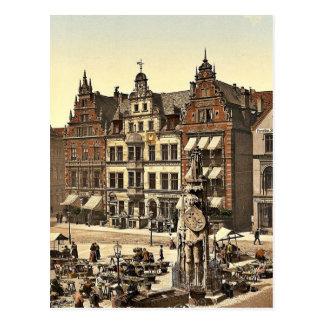 Postal El monumento de Roland, Bremen, Alemania