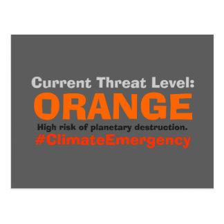 Postal El naranja llano de la amenaza resiste el triunfo