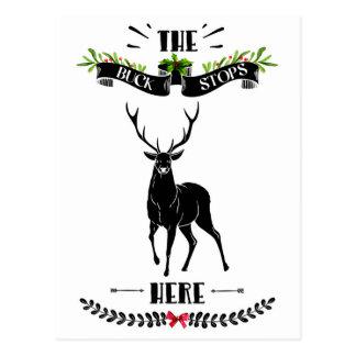 Postal El navidad el dólar para aquí ciervos