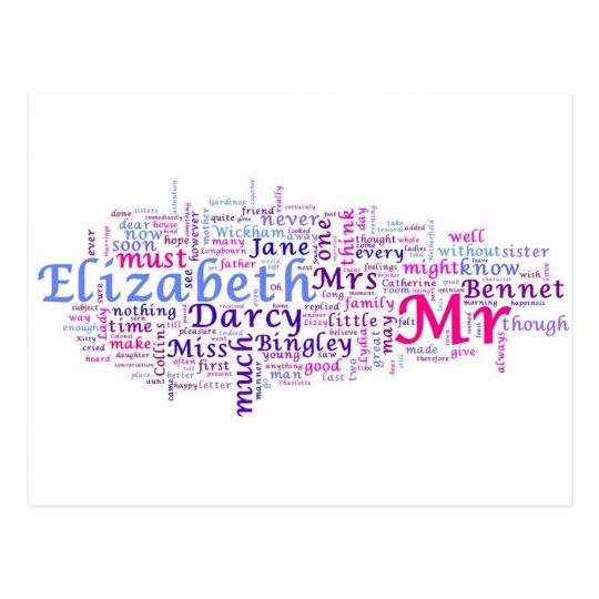Postal El orgullo y el perjuicio de Jane Austen