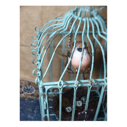 Postal El pájaro lleva a cabo la llave