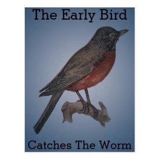 Postal El pájaro temprano coge el gusano