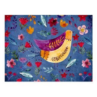 Postal El pájaro temprano en jardín de flores