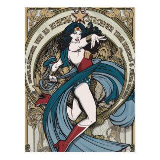 Postal El panel de Nouveau del arte de la Mujer Maravilla