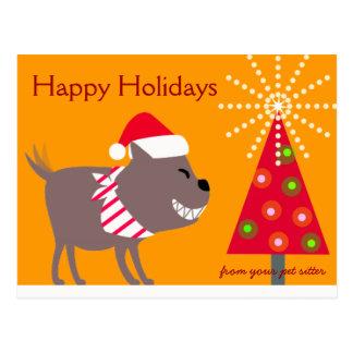 Postal El pañuelo árbol-naranja persigue y del navidad