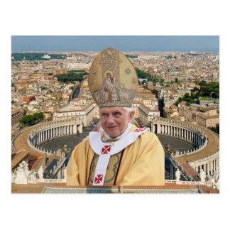 Postal El papa Benedicto XVI con la Ciudad del Vaticano