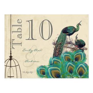 Postal El pavo real colorea número de la tabla del boda