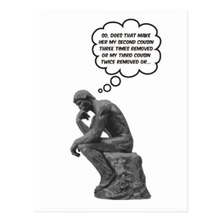 Postal El pensador de Rodin - primos