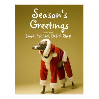 Postal El perro lleva la ropa 2 de la Navidad del padre