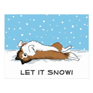 Postal El perro pastor de Shetland lo dejó nevar - día de