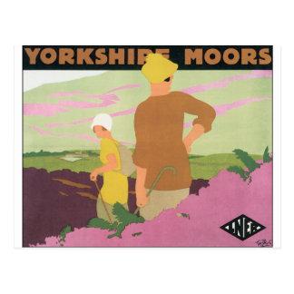 Postal El poster del viaje del vintage para Yorkshire