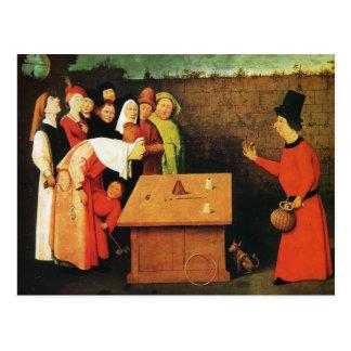 Postal El prestidigitador de Hieronymus Bosch