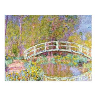 Postal El puente en el jardín de Monet de Claude Monet