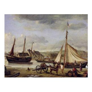 Postal El Quay del comerciante en Ruán, 1834