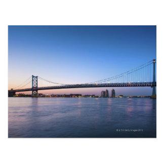 Postal El río Delaware, puente de Ben Franklin