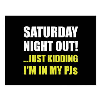 Postal El sábado por la noche hacia fuera PJs