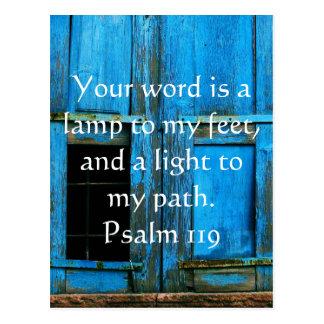 Postal El salmo 119 su palabra es una lámpara a mis pies