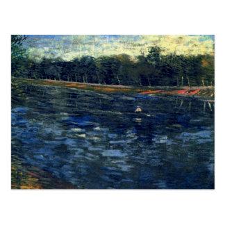 Postal El Sena con un barco de Rowing, bella arte de Van