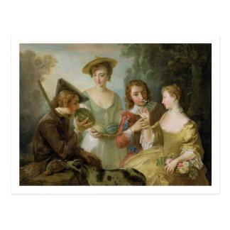 Postal El sentido del olfato, c.1744-47 (aceite en lona)