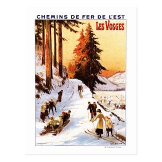 Postal El Sledding y esquí en el poster de los Vosgos