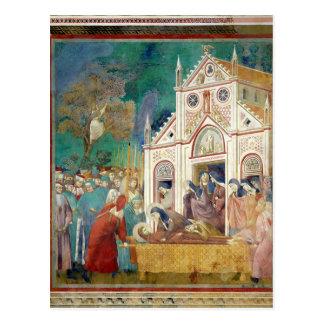 Postal El St. Clare abraza al cuerpo de St Francis
