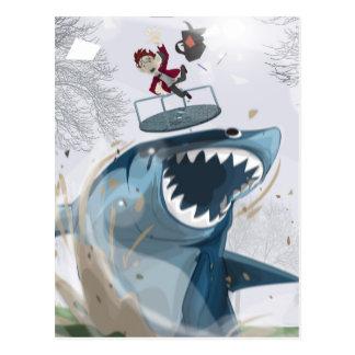 Postal El tiburón en el parque (ilustraciones originales)