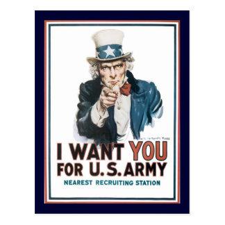 Postal El tío Sam le quiere la guerra mundial 2