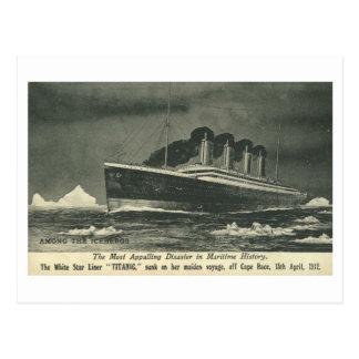 """Postal EL TITÁNICO """"entre los icebergs"""" en 1912"""