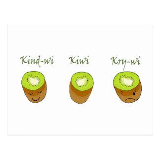 Postal El trío del kiwi