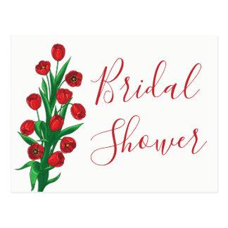 Postal El tulipán nupcial floral rojo de la ducha florece