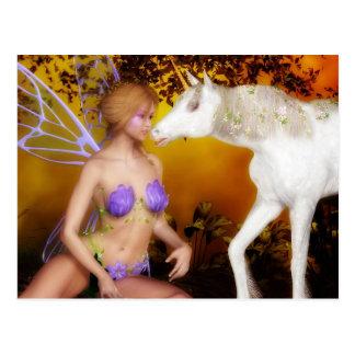 Postal El unicornio y la hada